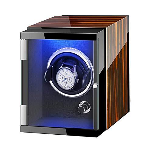 CCAN Caja enrolladora de Reloj automática con Luces de Colores Pintura de Piano Exterior Ajustable Almohadas para Reloj Adaptador de CA y Funciona con batería (Color: Negro, Tamaño: 6 + 0)
