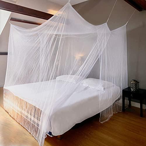 Myggnät dubbelsäng och enkelsäng XXL – 2 m x 2 m x 2 m (vit, kantig) tätt myggnät för resor och hem, tillförlitligt insektsskydd