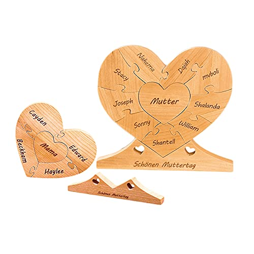 Personalisiertes Puzzle Name Puzzle Puzzle Benutzerdefiniertes Puzzle mit 8 Namen Familienpuzzle Graviertes Puzzle Herz Holzpuzzle Muttertag Personalisiertes Geschenk