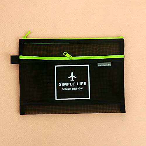 Bolsa de almacenamiento transparente con cremallera para archivos, para estudiantes, color verde