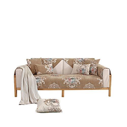 Funda de sofá Antideslizante Jacquard de Chenilla de Alta Gama Funda de sofá Funda de sofá Reversible para Mascotas,niños,niños,Perros,Gatos,café,80X180cm