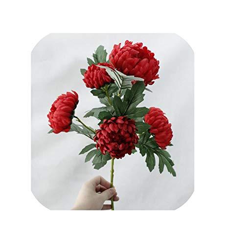 Magische dag 5 Hoofden Grote Goudsbloemen Chrysant Kunstzijde Bloemen Herfst Thuis Bruiloft Decoraties Nep Planten Tak Krans Fleur,E,1 Stuk E