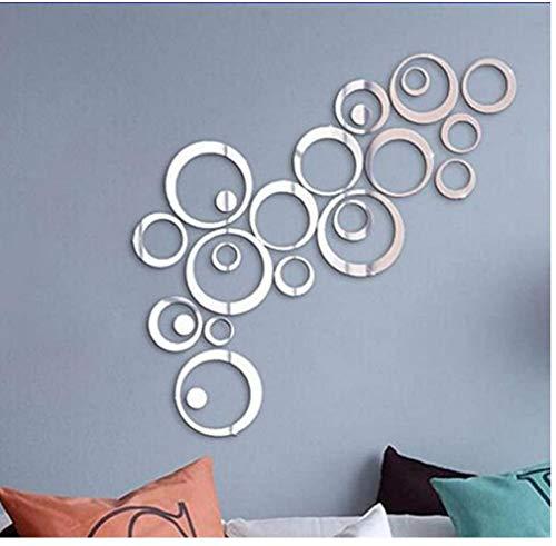 Espejo del espejo del estilo Adhesivos de pared espejo pegatinas de pared removible acrílico etiquetas auto-adhesivo de la etiqueta del círculo de espejo para el dormitorio sala de estar decoración