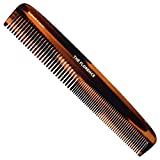 Kent 9T Limited Edition Double Tooth Hair Dressing Comb, Tortoise Fine Wide Tooth Dresser Comb For Hair, Beard and Mustache, Coarse and Fine Hair Styling Comb for Men, Women and Kids. Made in England