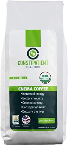 Coffee Enema Organic for Pure Liver Detox, Colon Cleanse and Constipation Relief, Air-Roasted, Finely Ground, 1lb Enema Coffee Bag