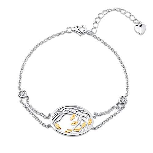 SA SILVERAGE Pulsera de Plata de Ley 925 para Mujer, diseño de árbol de la Vida, Plata de Ley 925, Color Dorado