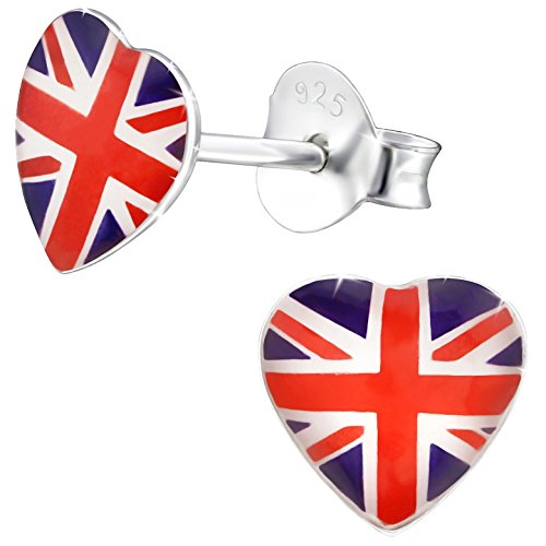 JAYARE Ohrringe Mädchen Fahnen Flaggen UK United Kingdom Vereinigtes Königreich 925 Sterling Silber rot Kinder Ohrstecker