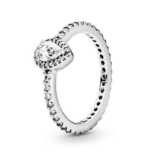 Pandora Damen Ring Strahlender Tropfen in silber mit weißen Zirkonia besetzt