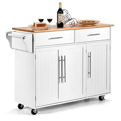 DREAMADE Küchenwagen mit Schublade und Tür, Servierwagen Küchentrolley aus Massivholz, Rollwagen Küchenschrank Küchenregal auf Rollen, Weiß