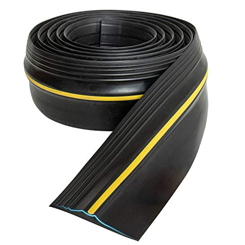 Gonioa 10Ft/3M Universal Garage Threshold Seal Strip,Garage Door Bottom Threshold Seal,Weatherproof DIY Rubber Weather Stripping Replacement,Easy to Install,Not Include Adhesive/Sealant (Black)