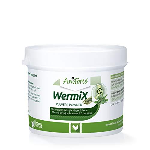 AniForte WermiX Pulver für Hühner, Gänse, Enten & Großvögel 50g - Naturprodukt vor, während und nach Wurmbefall & Wurmkur, mit Saponine, Bitterstoffe, Gerbstoffe, Wermut, Naturkräuter für Magen & Darm