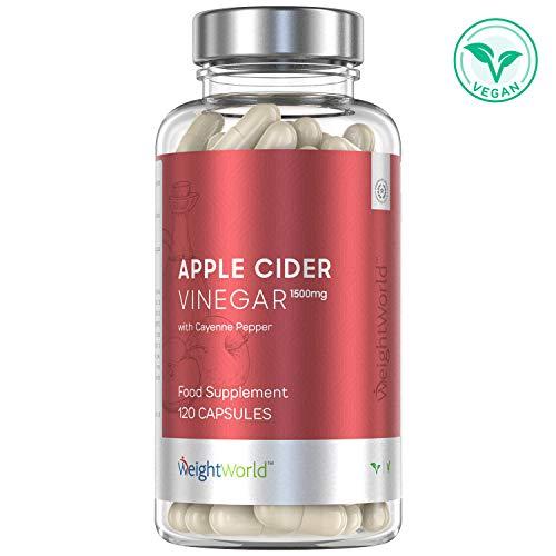Apfelessig Kapseln - 1500mg Apple Cider Vinegar hochdosiert, Für Abnehmen & Diät, Vitamin und Magnesium Tabletten zum Stoffwechsel anregen, Apfel Essig Detox für die Verdauung - 120 Kapseln Vegan
