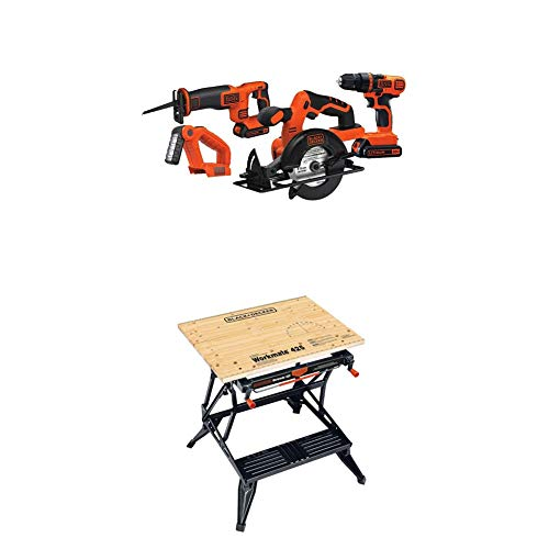 BLACK+DECKER Portable Workbench, Project Center and Vise (WM425-A) & 20V MAX Cordless Drill Combo Kit, 4-Tool (BD4KITCDCRL)