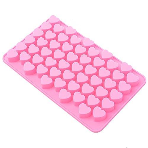 Markcur 55 cavité Mini Cœur Moule en Silicone Chocolat Cookie Moule à Cake Moule à gelée Moule à Muffins Candy pour Enfants