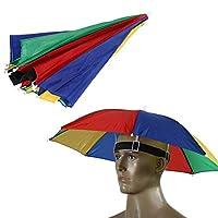 Material: Nylon, Metall Geeignet für Angeln, Wandern, usw. Gummiband passt über den Kopf für einen sicheren festen Sitz Diese Hut Regenschirm tragen kann beide Hände frei zu halten und schützt den Kopf vor Regen oder Sonne Paket-Inhalt: 1 x Angelschi...