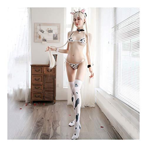Chenyou Traje de Cosplay de Vaca Sexy for Mujer Conjunto de Bikini de Tres Puntos Traje de baño Anime Traje de baño for niñas Ropa Lolita Sujetador y Panty Conjunto camisón Shorts Bermudas