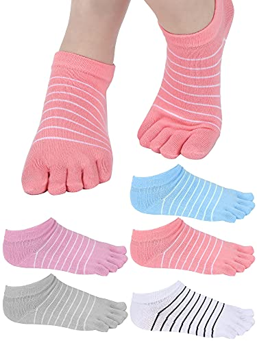 5 Pairs Stripe Toe Socks Five Finger Socks Low Cut Colorful Socks for Women Girl Supplies