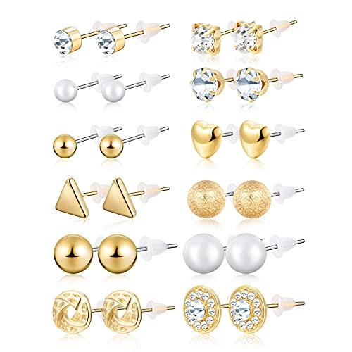 ZOYIEP 24 pares de pendientes de perlas de cristal para niñas, mujeres, hombres, plata y oro., Bambú, Apatite zafiro amarillo Abalone,