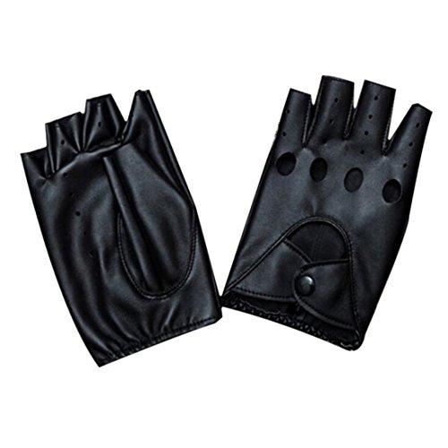 YAMALL Mode halbe Finger Handschuhe Pu Leder fingerlose schwarze Handschuhe 1 Paar für Frauen Mädchen