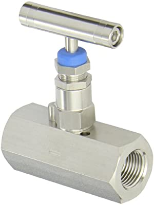 PIC Gauge HV-SS-1/2-HS-180-FXF 316 Stainless Steel Hex Body Straight Needle Valve with Gas Service Seat, 1/2 Female NPT x 1/2 Female NPT Connection Size, 6,000 psi Pressure from PIC Gauges