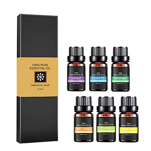 ruiyoupin Ätherisches Öl Set(10 ml) 6 STK. 100% Rein Duftöl Geschenkset für Diffuser Luftbefeuchter Massage Aromatherapie Therapeutic Ätherisches Öl