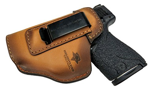 Relentless Tactical The Defender Leather IWB Holster - Made in USA - for S&W M&P Shield - Glock...