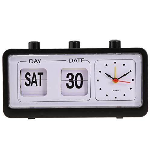 perfeclan Mini Flip - Reloj de Pared, Reloj Calendario Día Fecha Hora 3 en 1 - Negro
