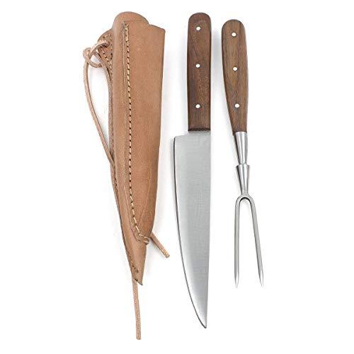 Vehi Mercatus Mittelalter-Besteck in Doppellederscheide (Holz, Messer und Gabel)