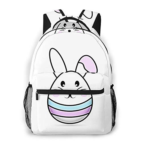Laptop Rucksack Schulrucksack Tier Osterhasen Eier, 14 Zoll Reise Daypack Wasserdicht für Arbeit Business Schule Männer Frauen