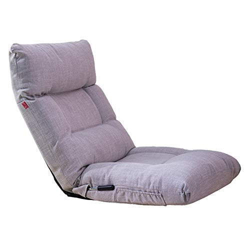 ZoSiP Floor Sofa Chair Reclining Floor Chair with Back Support,Gaming Chair for Kids and Adults, Floor Lounger,Steel Frame Floor Seating for Adults Memory Foam (Color : Gray, Size : 56x68x15cm)