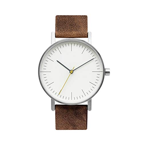 BIJOUONE B001 Minimalist Brown Leather Stainless Steel Swiss Quartz Analog Unisex Watch, Clean Simple Causal Vintage Design