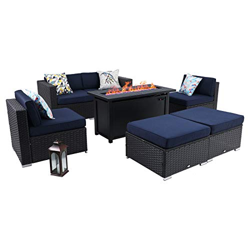 Sophia & William Patio Furniture Sectional Sofa Set with Gas Fire Pit Table 7 Piece Wicker Rattan Outdoor Conversation Sets, CSA Approved Propane Fire Pit (Navy Blue-Rectangular Table)