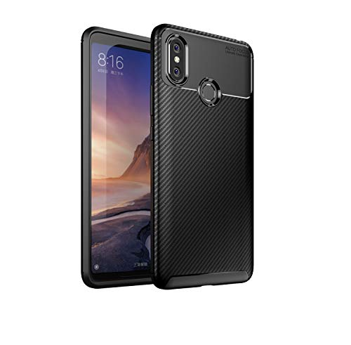 MYLB Compatible with Xiaomi Mi Max 3 Case,Carbon Fiber Design Flexible Soft TPU Case Anti-Scratch Shockproof Protective Back Cover to Protect The Mobile Phone for Xiaomi Mi Max 3(Black)