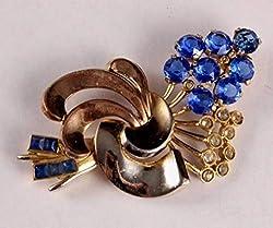 Vintage Blue Rhinestones Floral Flower Pin Brooch