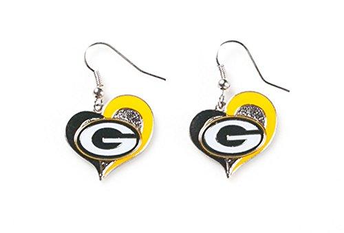 aminco womens NFL Green Bay Packers Swirl Heart Earrings Multi, One Size