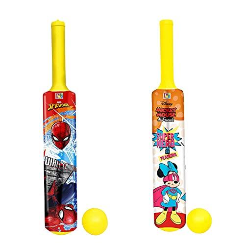 Varni Enterprise Cricket Bats and Ball for Kids Set of 2 Bats & 2 Balls (Attractive Mickey & Friends and Spiderman Print)