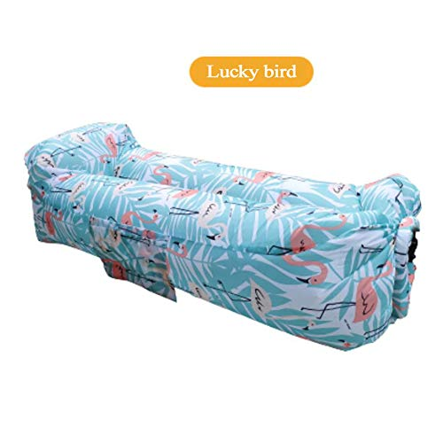 RENS Tumbona inflable con reposacabezas, sofá de aire y sofá portátil perezoso ultra ligero, colchón inflable rápido flotador de piscina para viajes, natación, camping, playa, fiesta, parque de senderismo, Ave de la suerte azul