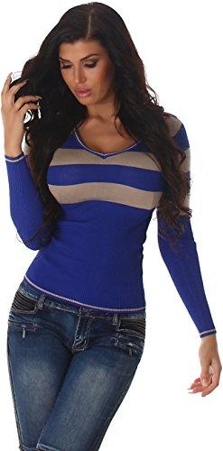 Jela London Slim-Fit Pullover Longsleeve dünn Langarm-Shirt Streifen V-Ausschnitt, Blau