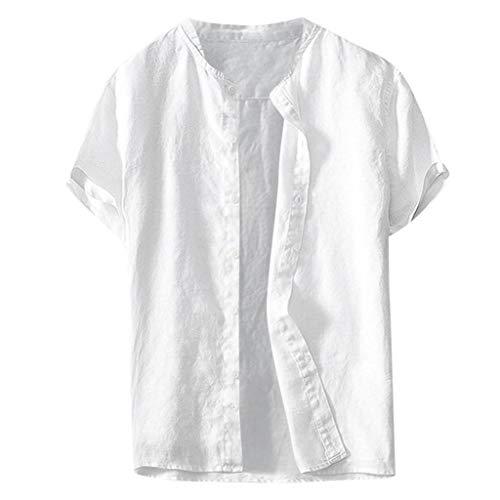 Loolik Herren Kurzarm Hemd,Sommer Herren Kühl dünn atmungsaktiv Einfarbig Taste Baumwollhemd Kurzarm Top Bluse,Herren Sommerhemd Hemd Blusen Oberteil Tunika Bluse