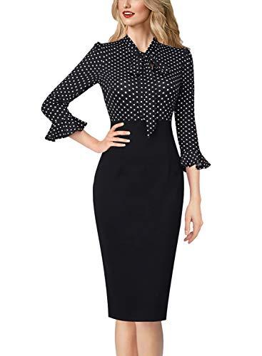VFSHOW Womens Elegant Bell Sleeve Work Business Office Sheath Pencil Dress 2572 BLK XL
