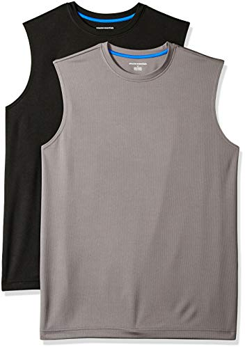 Amazon Essentials Men's 2-Pack Performance Tech Muscle Tank, Black/Dark Grey, Large