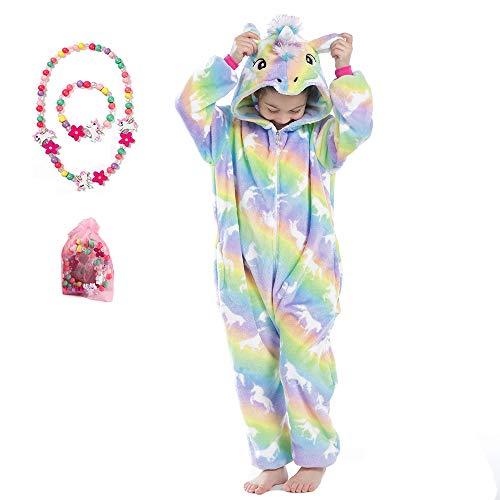 LINKE - Tuta per ragazze, in morbido peluche a forma di unicorno, ideale come regalo, con braccialetto e collana colorati Rainbow Pegasus 3-4 Anni