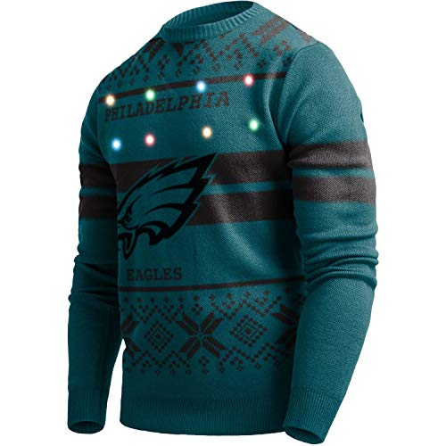 Forever Collectibles Majestic NFL Ugly Sweater Philadelphia Eagles Pullover Big Logo 2-Stripe-Light LED Beleuchtung (XL)