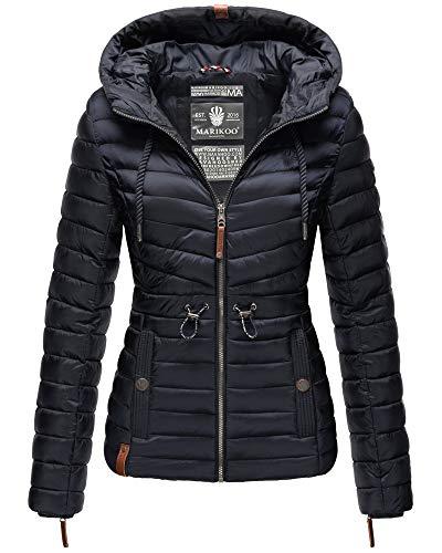 MARIKOO Damen Jacke Frühling Übergangs Outdoor Steppjacke Gefüttert Warm Kapuze 9 Farben XS - XXL ANIYAA (Navy, XL)