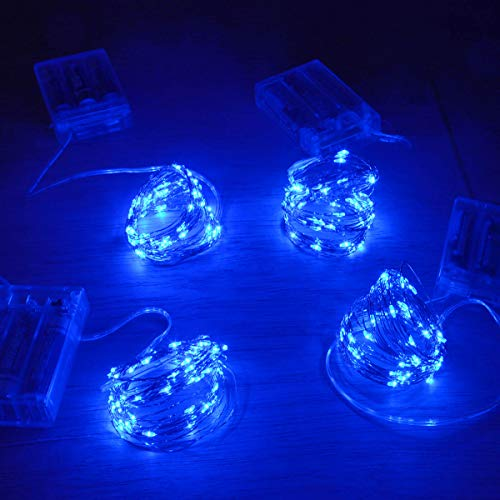 Homeleo 4 Set 50 LEDs Blue Christmas Tree Lights,Battery Operated led Lights for Hanukkah Decorations, Easy Shaped Small Led Fairy Lights for Bedroom Window Wreath Decorations