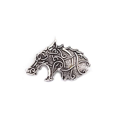 SanLan Celtic Wolf Head Viking Brooch Lapel Pin Men Brooch Vintage Brooches for Men Norse Jewelry (Style 1)
