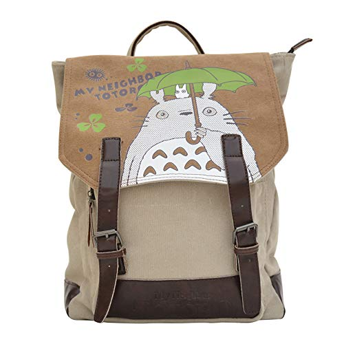 HAMIQI Anime Canvas School Bag My Neighbor Totoro Zaino Zaino per studenti Hayao Miyazaki (16 pollici)