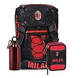 Schoolpack Zaino Scuola AC Milan Estensibile con Borraccia + Astuccio 3 Zip Forza Rossoneri Calcio