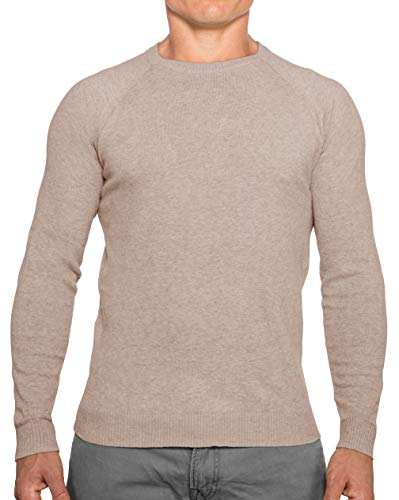 CC Perfect Slim Fit Crewneck Sweaters for Men | Lightweight Breathable Mens Sweater | Soft Fitted Pullover for Men Oatmeal
