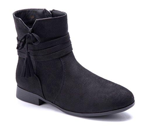 Schuhtempel24 Damen Schuhe Flache Stiefeletten Stiefel Boots schwarz flach Zierschleife 2 cm